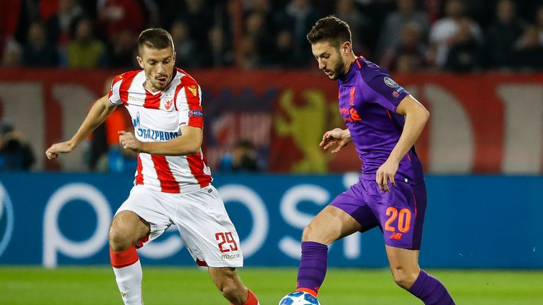 Adam Lallana played 79 minutes against Red Star Belgrade