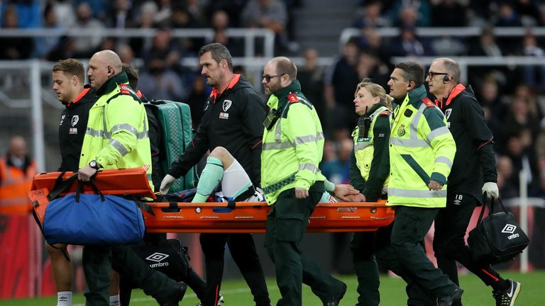 Smith was stretchered off after receiving treatment for eight minutes