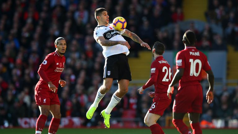 Aleksandar Mitrovic had a goal ruled out before Liverpool broke away to take a 1-0 lead at Anfield