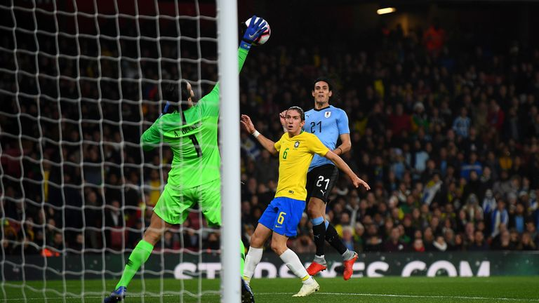Cavani was denied the opening goal by a brilliant Alisson Becker save