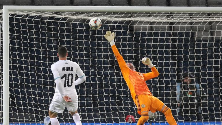 Allan McGregor claws Tomer Hemed's late effort away to safety
