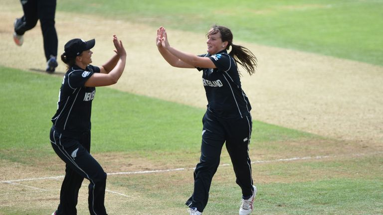 Amelia Kerr took 4-51 against England in their World Cup group match in Derby in 2017