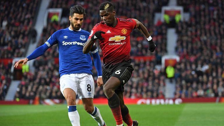 Paul Pogba in action against Everton recently