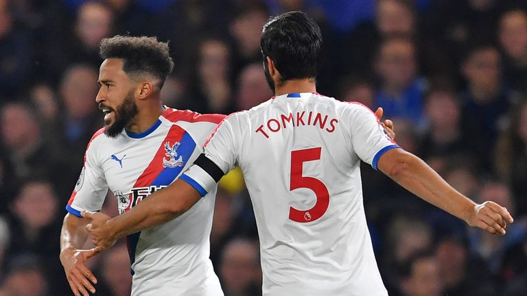 Andros Townsend celebrates after equalising for Crystal Palace
