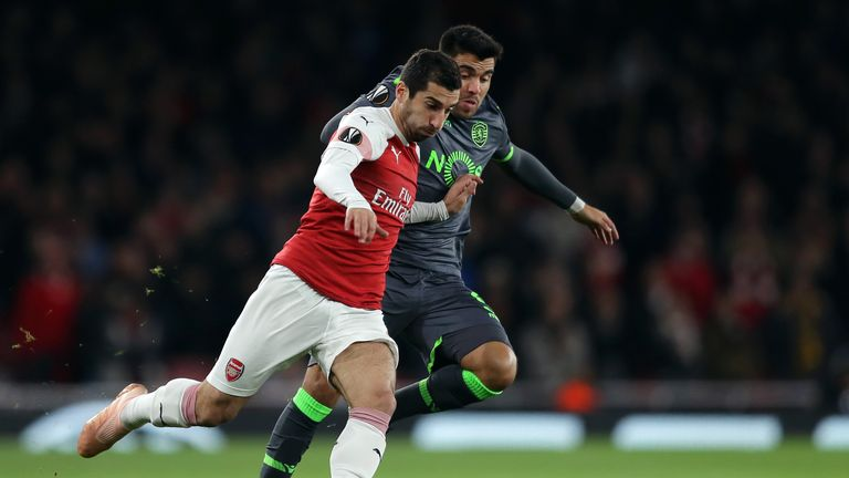 Henrikh Mkhitaryan battles for the ball during Arsenal's 0-0 draw with Sporting