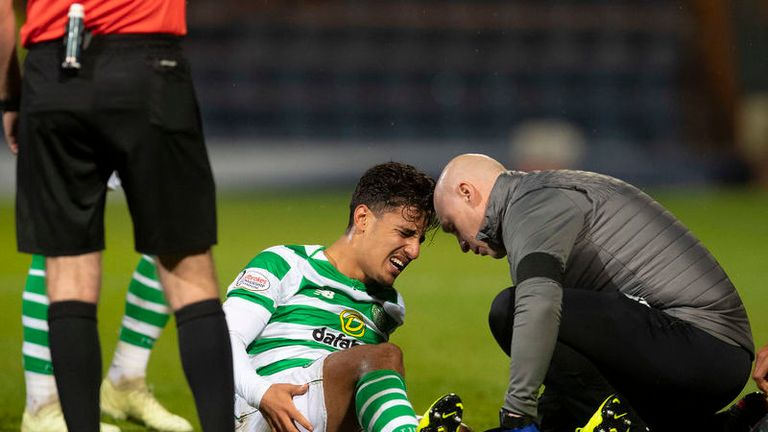 Daniel Arzani was injured in Celtic's 5-0 thrashing of Dundee