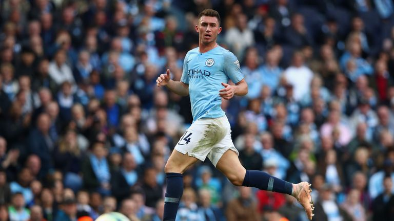 Aymeric Laporte of Manchester City in action during the Premier League match between Manchester City and Brighton & Hove Albion at Etihad Stadium on September 29, 2018 in Manchester, United Kingdom.