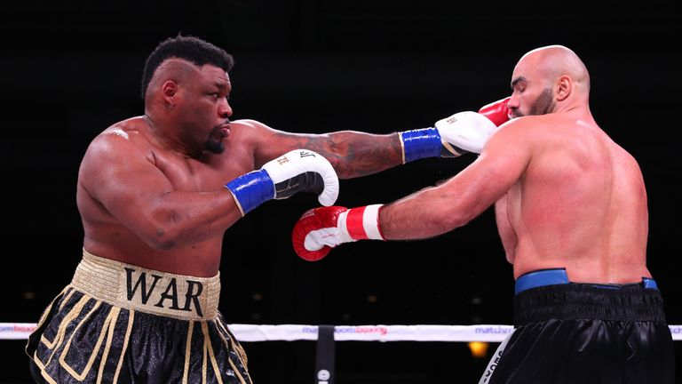 Jarrell Miller and Bogdan Dinu during their heavyweight bout  on November 17, 2018 at the Kansas Star Casino.