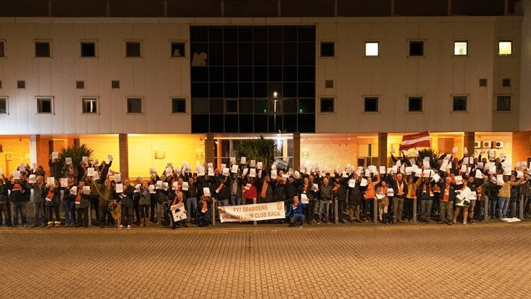 Blackpool Supporters' Trust held a vigil at Bloomfield Road