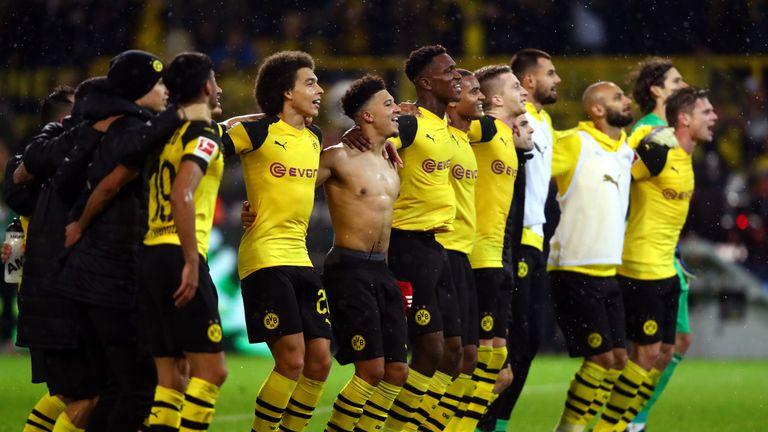 Borussia Dortmund celebrate their historic Bundesliga win over Bayern Munich at the Westfalenstadion.