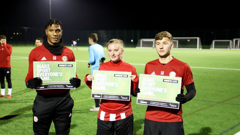 Brentford FC players showed their support for the Rainbow Laces campaign at a special activation event on Monday night