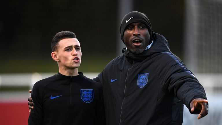 Sol Campbell and Phil Foden during an England U21s training session in November