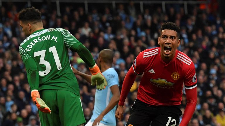 Chris Smalling scoring the winning goal in the fixture at the Etihad last season