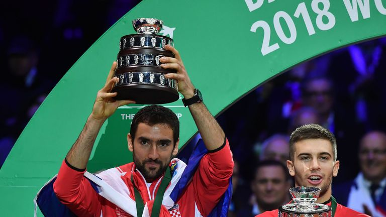 Marin Cilic celebrates after clinching Davis Cup glory for Croatia