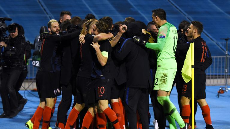 Croatia players celebrate their late winner