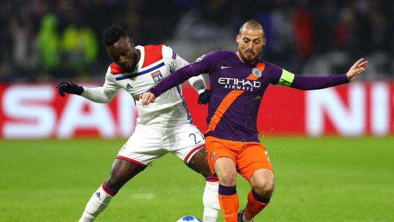 David Silva looks to break free in midfield in the first half