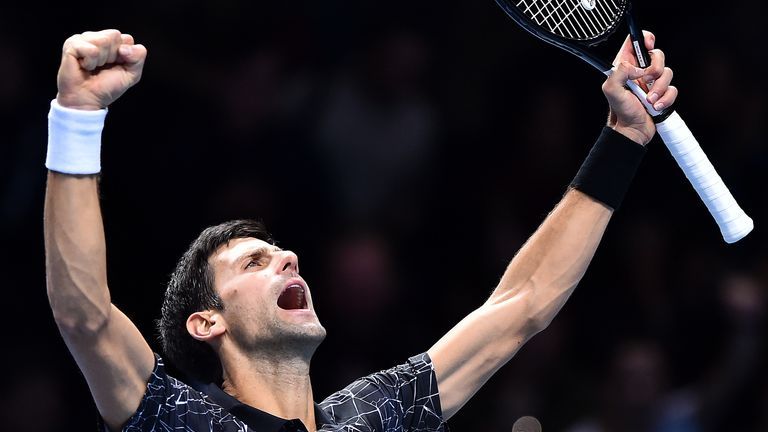 Djokovic roars after his victory over John Isner at the start of this year's ATP Finals tournament