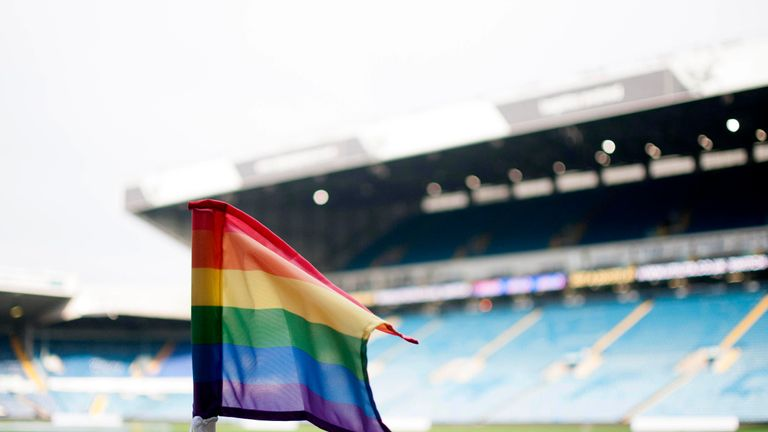 The EFL is using using bespoke sub boards and corner flags in support of Rainbow Laces