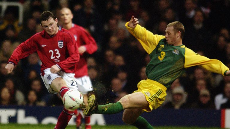 Rooney makes his England debut as a 17-year-old against Australia in 2003