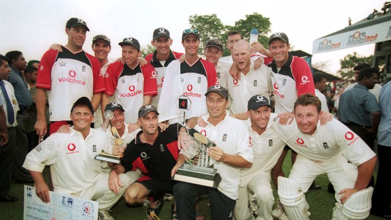 Nasser Hussain and his England team celebrate a famous series victory over Sri Lanka (Credit: Stu Forster/ALLSPORT)
