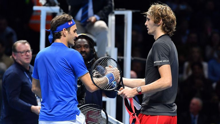 Roger Federer and Zverev shared a warm shake of the hands at the end of the match