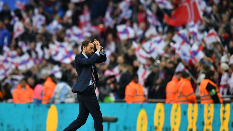 Gareth Southgate applauds the England fans