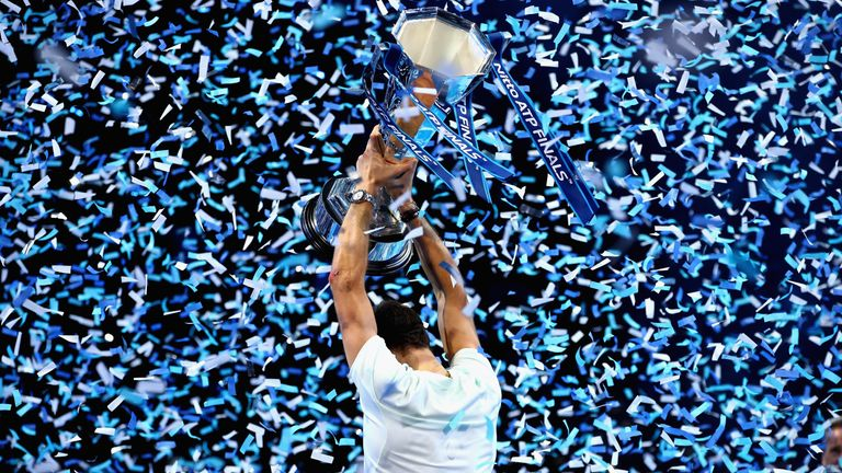 Grigor Dimitrov lifting the trophy on the final day of last year's tournament after beating David Goffin 7-5 4-6 6-3