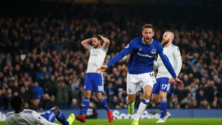 Gylfi Sigurdsson of Everton celebrates after scoring his team's first goal