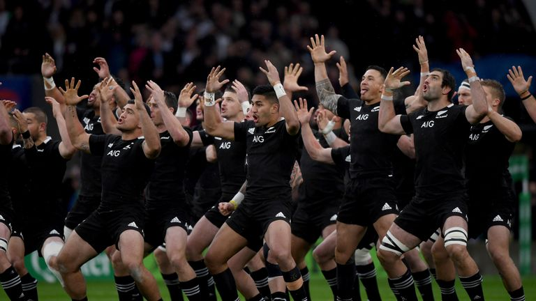 New Zealand do the Haka ahead of the match against England
