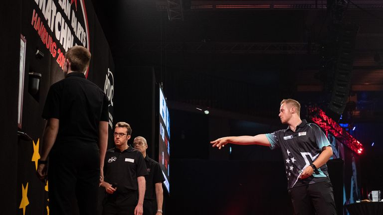 Ware now referees for the PDC including matches on the continent, such as the European Darts Matchplay in Hamburg (pic: PDC-Europe / S. Strassenburg)