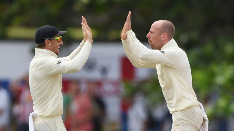Spinner Jack Leach (right) finished with five wickets in his return to the England side