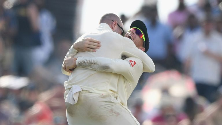 Jack Leach and Jos Buttler celebrate dismissing Sri Lanka's Dilruwan Perera
