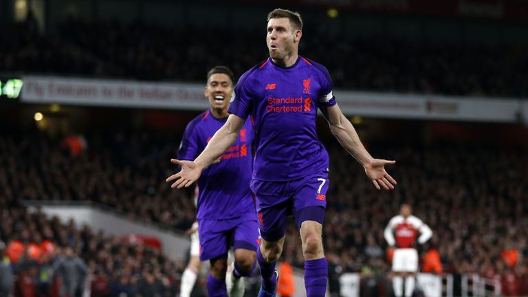 James Milner gave Liverpool a 61st-minute lead at the Emirates