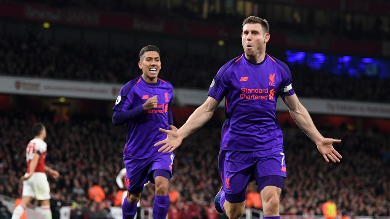 Milner scored in Liverpool's recent 1-1 draw with Arsenal