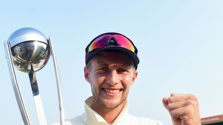 Joe Root celebrates England's series sweep in Sri Lanka
