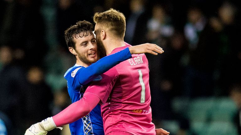 St Johnstone matchwinner Joe Shaughnessy celebrates with Zander Clark at full-time