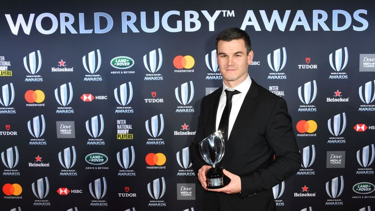 Johnny Sexton poses with the Player of the Year trophy in Monaco