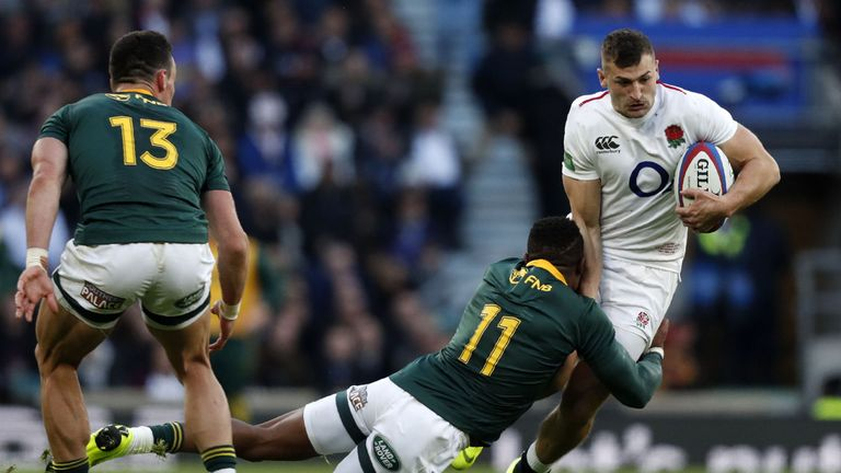 Jonny May in action for England against South Africa