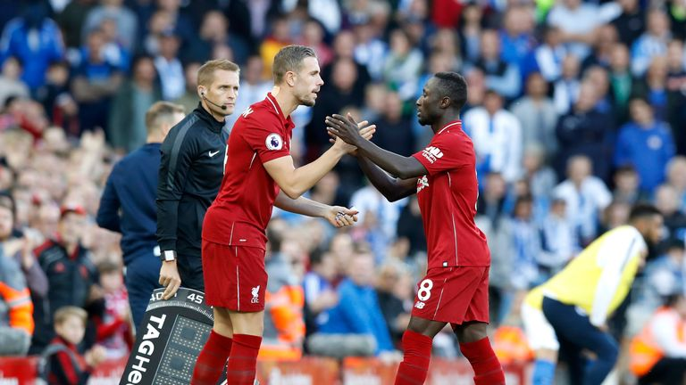 Jordan Henderson (left) and Naby Keita are fit for Liverpool's match against Fulham