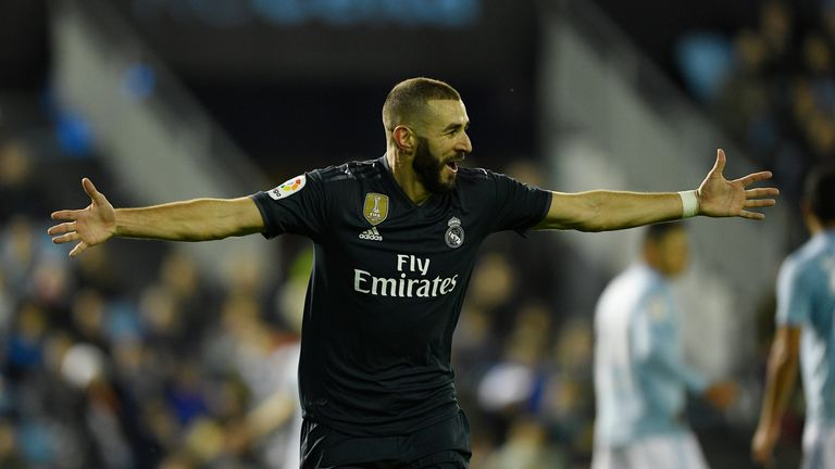 Karim Benzema scored his fifth goal of the league season
