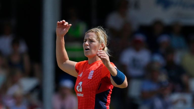 Katherine Brunt was unable to complete her first over against India on Wednesday