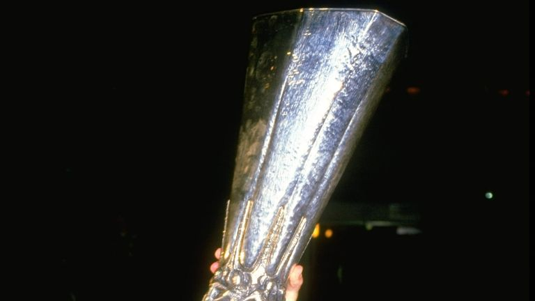 Keith Burkinshaw lifts UEFA Cup in 1984 with Tottenham
