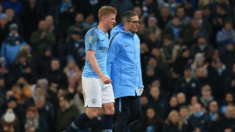 Kevin De Bruyne was forced off in the final few minutes of Man City's Carabao Cup win over Fulham