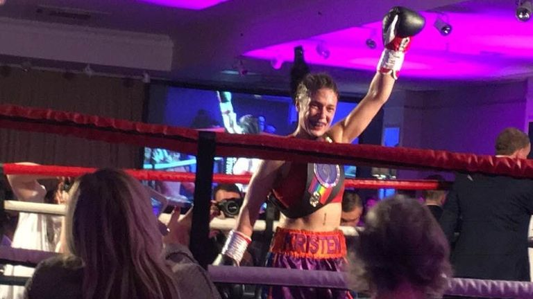 Kristen Fraser celebrates her Commonwealth bantamweight title victory over Ellen Simwaka in Aberdeen