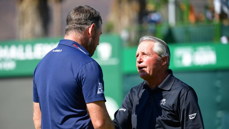 Westwood is congratulated by tournament host Gary Player