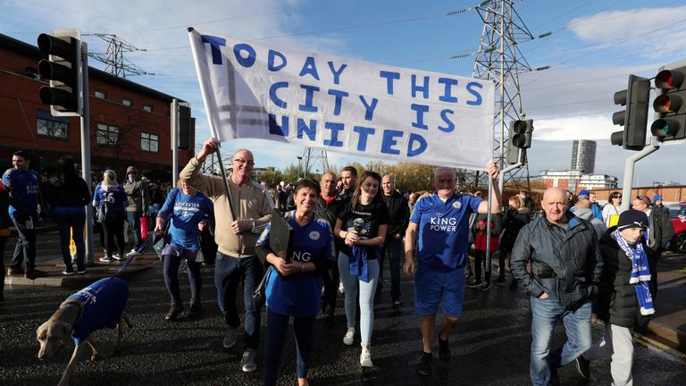 Leicester fans on the 5000-1 walk