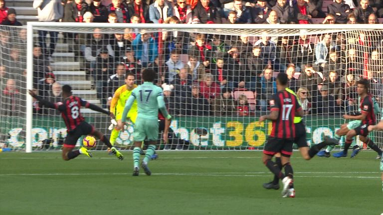 Jefferson Lerma volleys an own goal to put Arsenal 1-0 up at Bournemouth