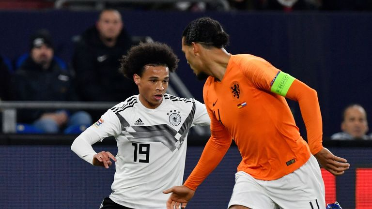 Leroy Sane in action for Germany against the Netherlands