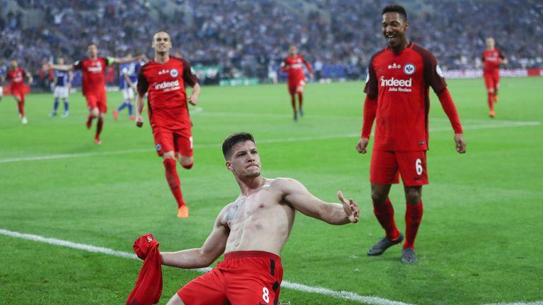 Jovic celebrates his goal during the DFB Pokal semi-final win against Schalke
