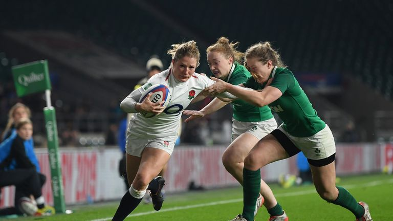 Lydia Thompson of England is tackled by Lauren Delany and Laura Sheehan of  Ireland 1a3b61109